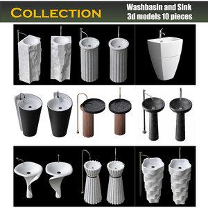 3D washbasin wash sink model