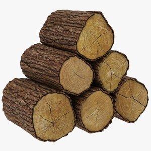 3D wooden logs 02