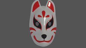 3D fox japan mask model