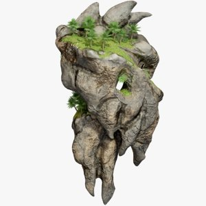 3D rocky floating island land model