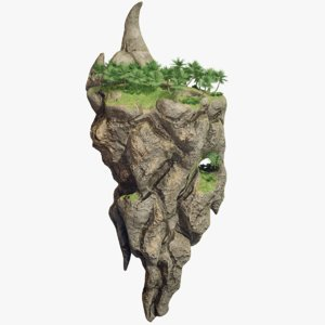 floating island tall land 3D