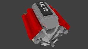 v8 engine 3D