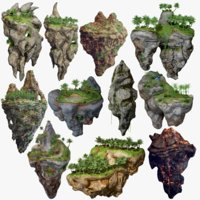 Floating Islands Low Poly Fantasy Package 11 Items