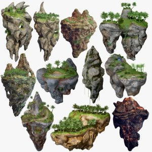 3D model 11 floating islands polys