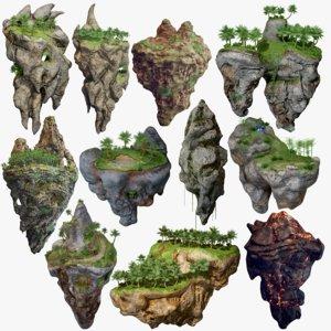 3D model 11 floating islands polys