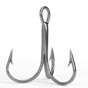 3D treble hook