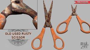 3D old used rusty scissor