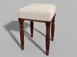 antique regency stool 3D model