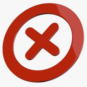 cross mark symbol icon 3D model