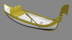3D model traditional gondola boat