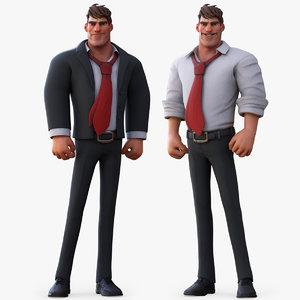 boss cartoon character man 3D