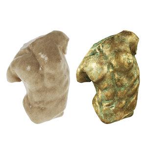 gaddi torso marble old 3D model