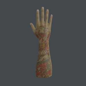 3D rigged right hand