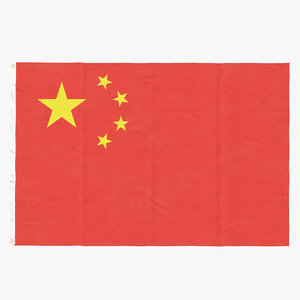 3D flag laying pose china model