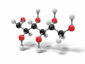 3D glucose open chain molecule model