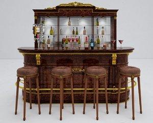bar counter classic 3D model