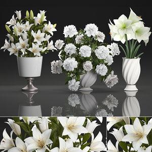 3D decorative bouquets white flowers