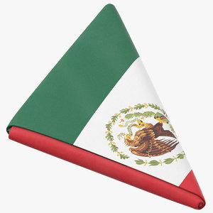 flag folded triangle mexico 3D model