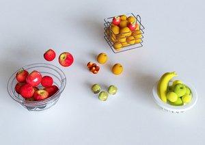 3D fruits apple banana