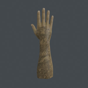 rigged right hand 3D
