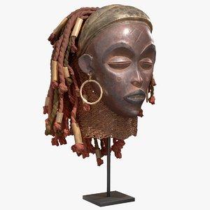 3D model african mask angola princess