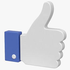 facebook symbol 3D model