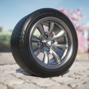 3D enkei compe tires wheel model