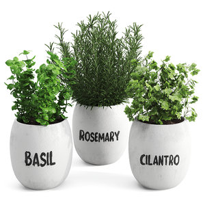 3D greenery plants set