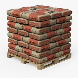 pallet cement bags 3D model