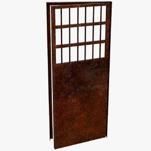 modeled old metal door model