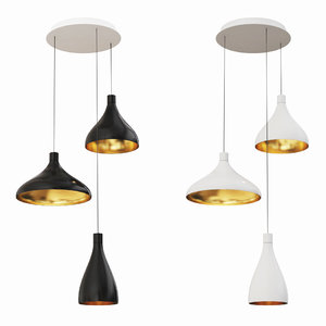 3D swell chandelier 3 black