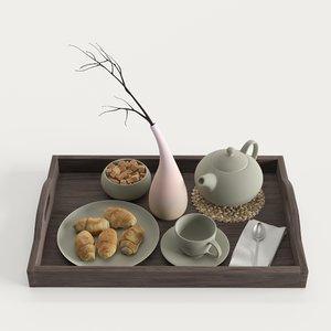 3D wooden tray breakfast teapot