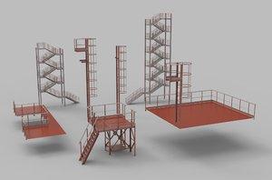 3D model ladders platforms