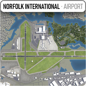 3D norfolk international airport -