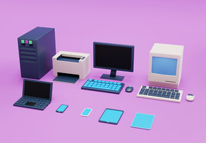 simple computers electronics office equipment 3D model