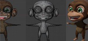 3D model cute monkey character