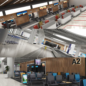 3D airport gates waiting model