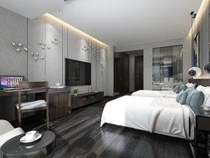 interior scene hotel twin model