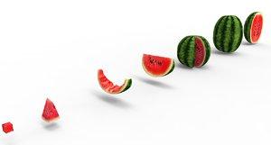 watermelon food fruit 3D model
