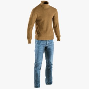 3D realistic men s pants model