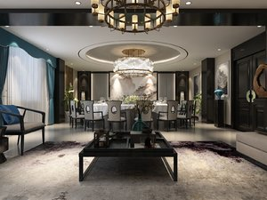 interior scene dining living room model