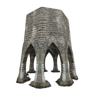 3D model gatehouse pillar aqueduct