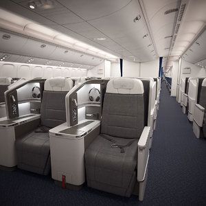 3D cockpit cabin boeing 777-300er