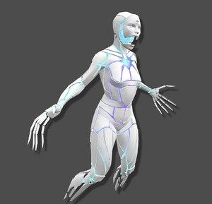 3D sci-fi cyber ghost
