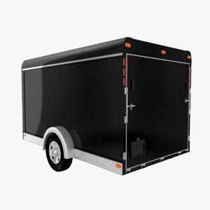 3D small cargo trailer