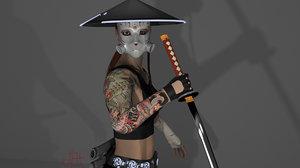 3D samurai woman model