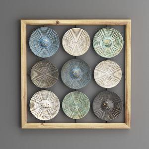 wall metal plates wood 3D model
