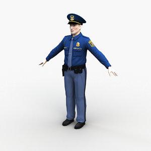3D character police officer 0001 model