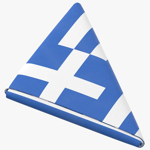 flag folded triangle greece 3D