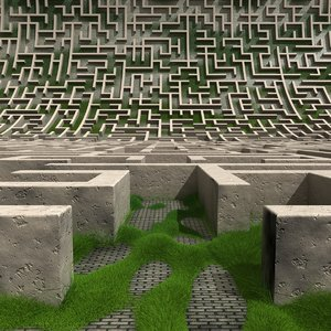 labyrinth maze landscape 3D model